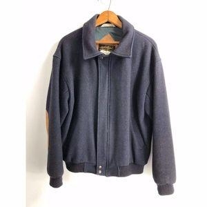 Eddie Bauer Full Zip Wool Blend Jacket Medium Navy